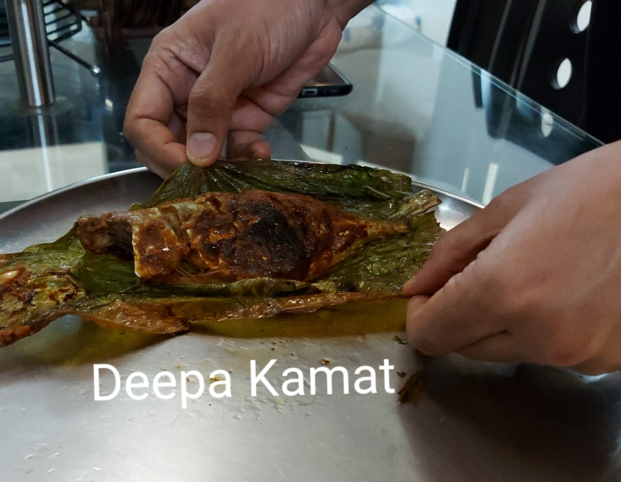 Mackerel (Bangda Fish) wrapped in Haldi leaf and pan-fried in Coconut oil